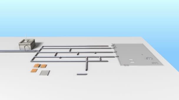 Prozesssteuerung Wasseraufbereitungsanlage am Boden. weiße Version (enthalten 2 Version alpha)