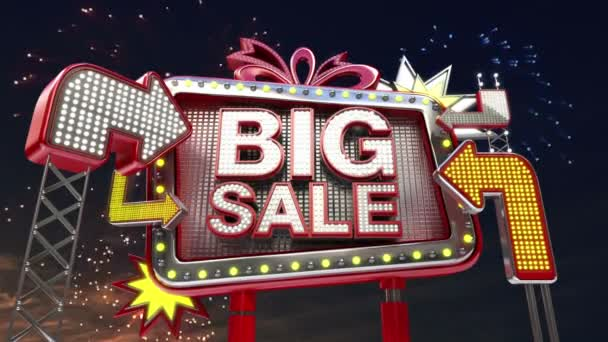 Sale sign Big Sale in led light billboard promotion.