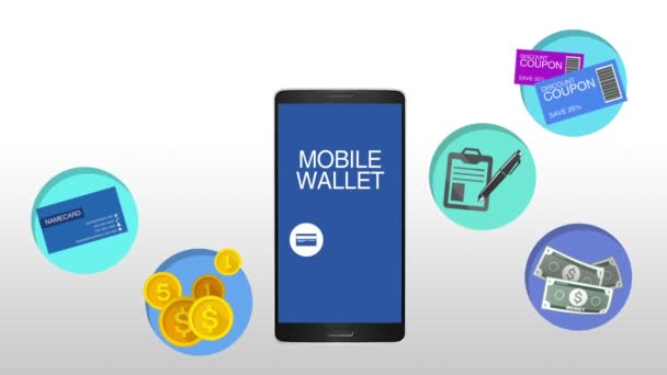 Function explanation for mobile wallet concept animation