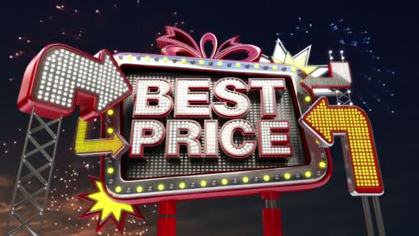 Sale sign Best Price in led light billboard promotion.