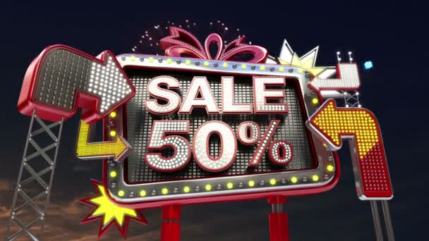 Sale sign SALE 50 percents in led light billboard promotion.