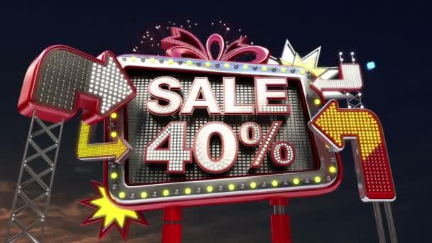 Sale sign SALE 40 percents in led light billboard promotion.