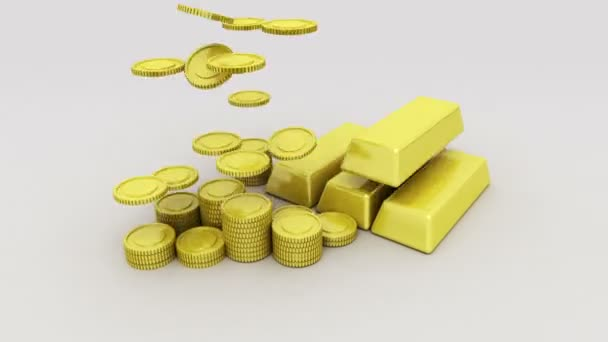 Pile up Golden coins and bar, expressed growth profits 1(included Alpha)