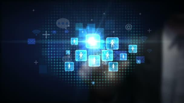 Podnikatel dotýká připojen lidí, pomocí komunikačních technologií. s hospodářskou diagram, graf, graf