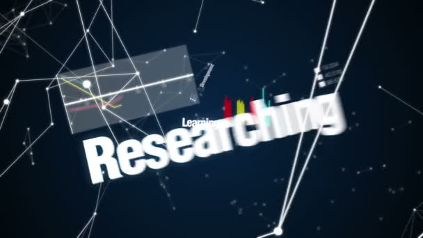 Development, Learning, Researching, Brainstorming, Knowledge,  Text animation  INNOVATION