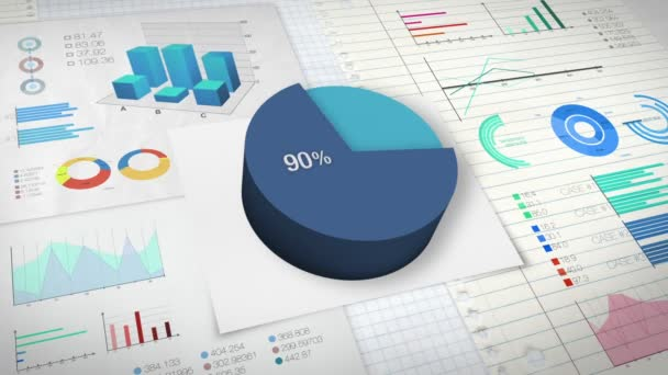 90 Percent Pie Chart With Various Economic Finances Graph Stock