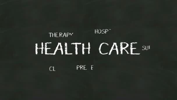 Handwriting concept of HEALTH CARE at chalkboard.