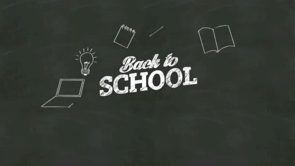 Handwriting concept of Back to school at chalkboard. with various diagram.graph.