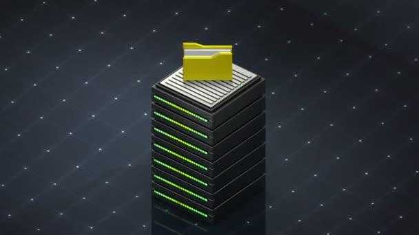 Symbol a počítače složku databáze. Databáze serveru webhostingové ikony 3d