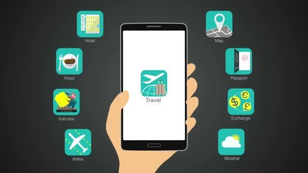 utazási alkalmazás függvény részére szúró telefon, mobil