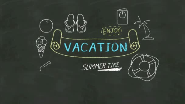 Handwriting concept of Vacation at chalkboard. and icon illustration.