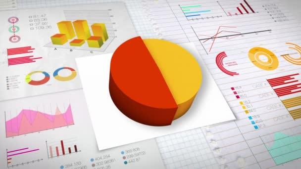 50 percent Pie chart with various economic finances graph(no text version)