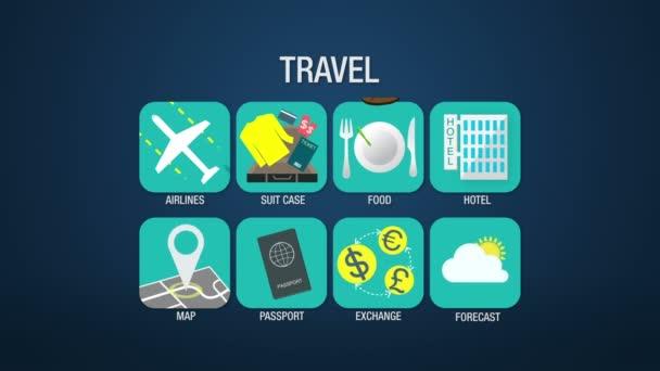 Utazási ikonkészlet animáció, légitársaság, bőrönd, étel, hotel, Térkép, útlevél, exchange, előrejelzés