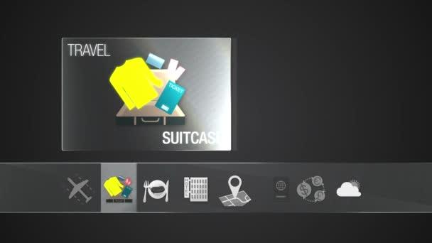 Kufr, cestovní taška ikonu pro cestovní obsah. Digitální displej aplikace