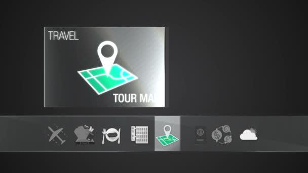 Mapa ikonu pro cestování obsahu. Digitální displej aplikace