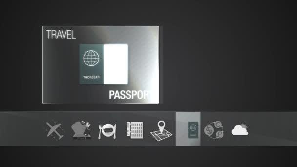 Ikona pas pro cestování obsah. Digitální displej aplikace