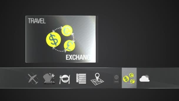 Výměna měny ikonu pro cestovní obsah. Digitální displej aplikace