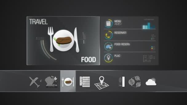 Jídlo ikona pro cestování obsahu. Digitální displej aplikace. (součástí alfa)