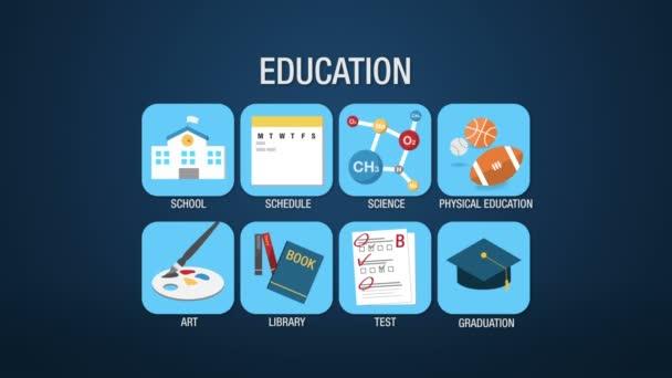 Sada ikon vzdělání, animace, škola, plán, věda, tělesné výchovy, umění, knihovna, zkouška, maturitní