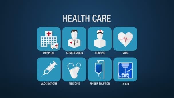 Health care icon set animation,hospital,consultation,nursing,vital,vaccinations,medicine, ringer solution, x-ray