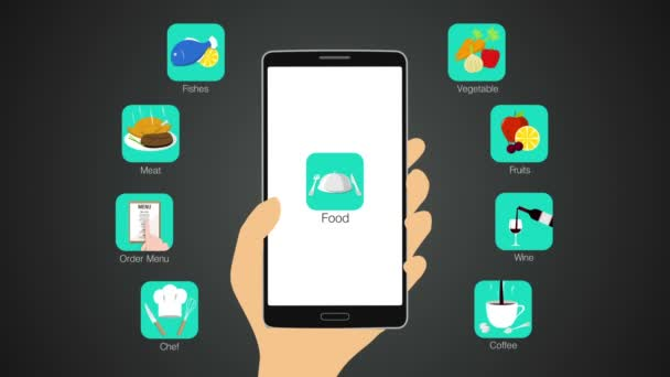 Food application function for smart phone,mobile, chef,order menu, meat, fishes, vegetable, fruit, wine, coffee