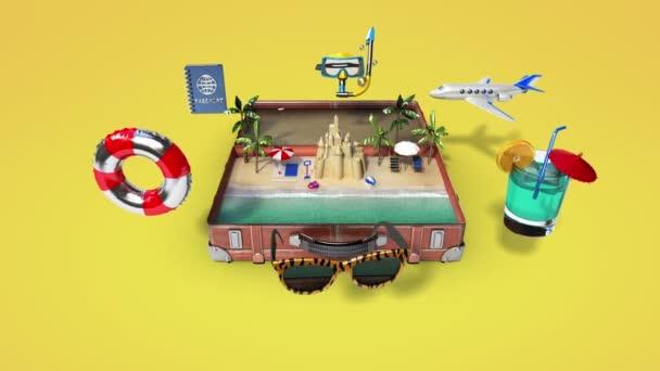 Otevřel vinobraní kožená taška, kufr, příprava na cestách cestování pro letní dovolenou, tour 2