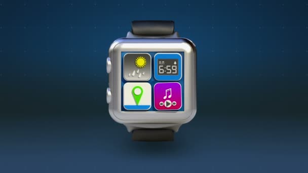 Use smart watch, Access Cloud computing service animation, Application into cloud