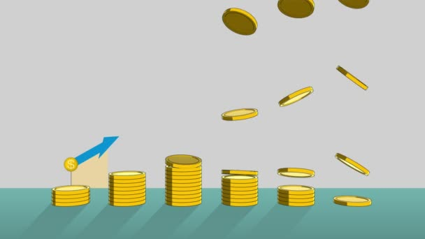 Pile up Golden coins expressed growth profits, and increase infographic box.2(included Alpha)