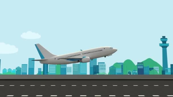 Vector illustration of an airplane take off on a runway with airport in the background