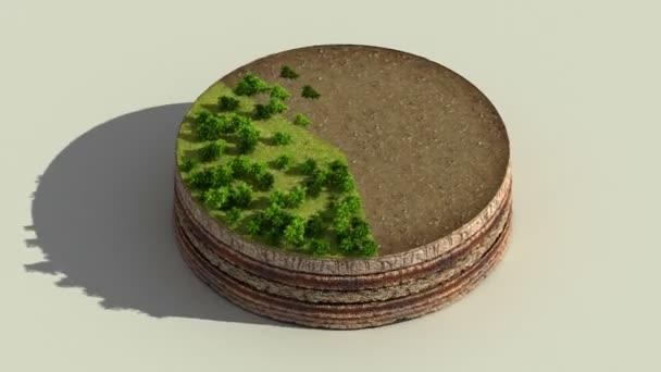 Indicare le percentuali circa 60 cerchio diagramma, diagramma. Elementi di Eco Infographic con alberi, foglie, erba e terra