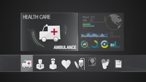 Ambulance icon for Health Care contents. Technology medical care service.Digital display application.
