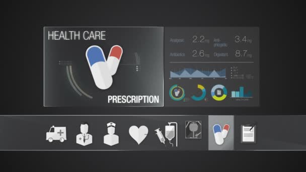 Prescription icon for Health Care contents. Technology medical care service.Digital display application.
