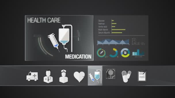 Medication icon for Health Care contents. Technology medical care service.Digital display application.