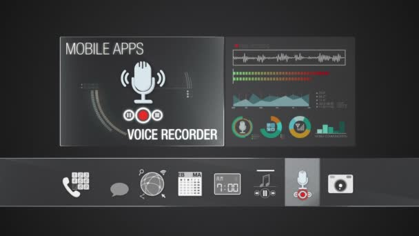 Voice Recorder icon for mobile application contents.Various application function for smart device.Digital display application.