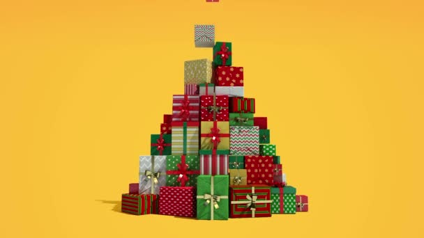 Falling down shape of christmas tree and gifts(included alpha)