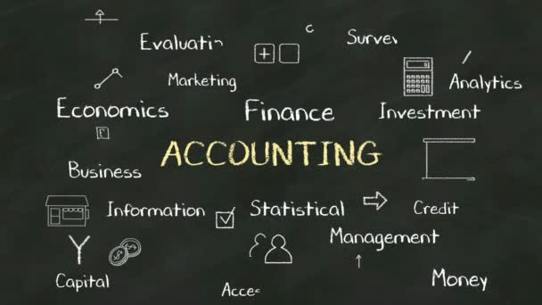 Handwriting concept of ACCOUNTING at chalkboard. with various diagram.(included alpha)