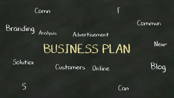 Handwriting concept of BUSINESS PLAN at chalkboard. with various diagram.(included alpha)