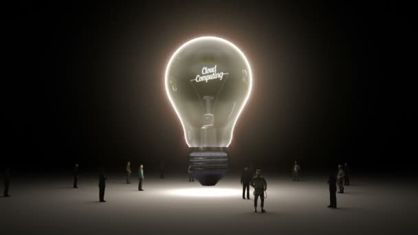 Typo Cloud computing in light bulb and surrounded businessmen, engineers, idea concept version (included alpha)