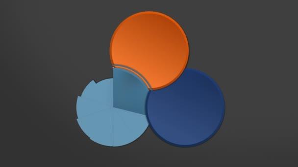 Kreisdiagramm Flussdiagramm, drei Ergebniskreise, Präsentationstempel. (enthaltenes Alpha)