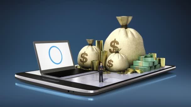 Online banki kölcsön, pénzügyek, a szúró telefon, intelligens pad, mobil.