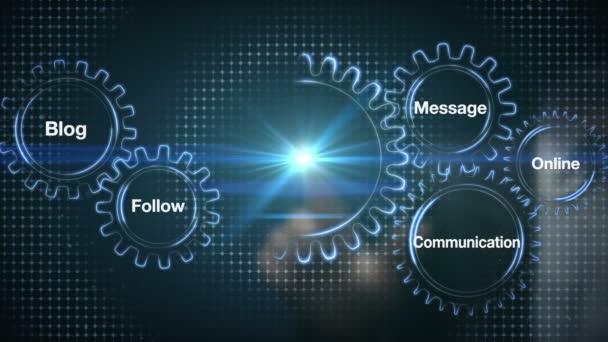 Gear with keyword, Blog, Follow, Communication, Message, Online. Businessman touch screen Social Media