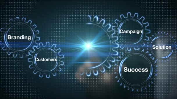 Gear with keyword, Branding, Solution,Customers, Campaign, Success. Businessman touch screen Marketing Strategy