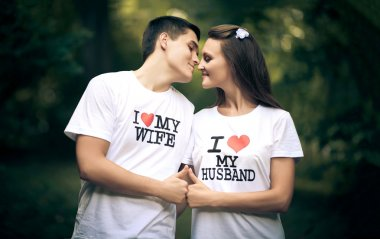 Married couple wiht words I love my wife and husband