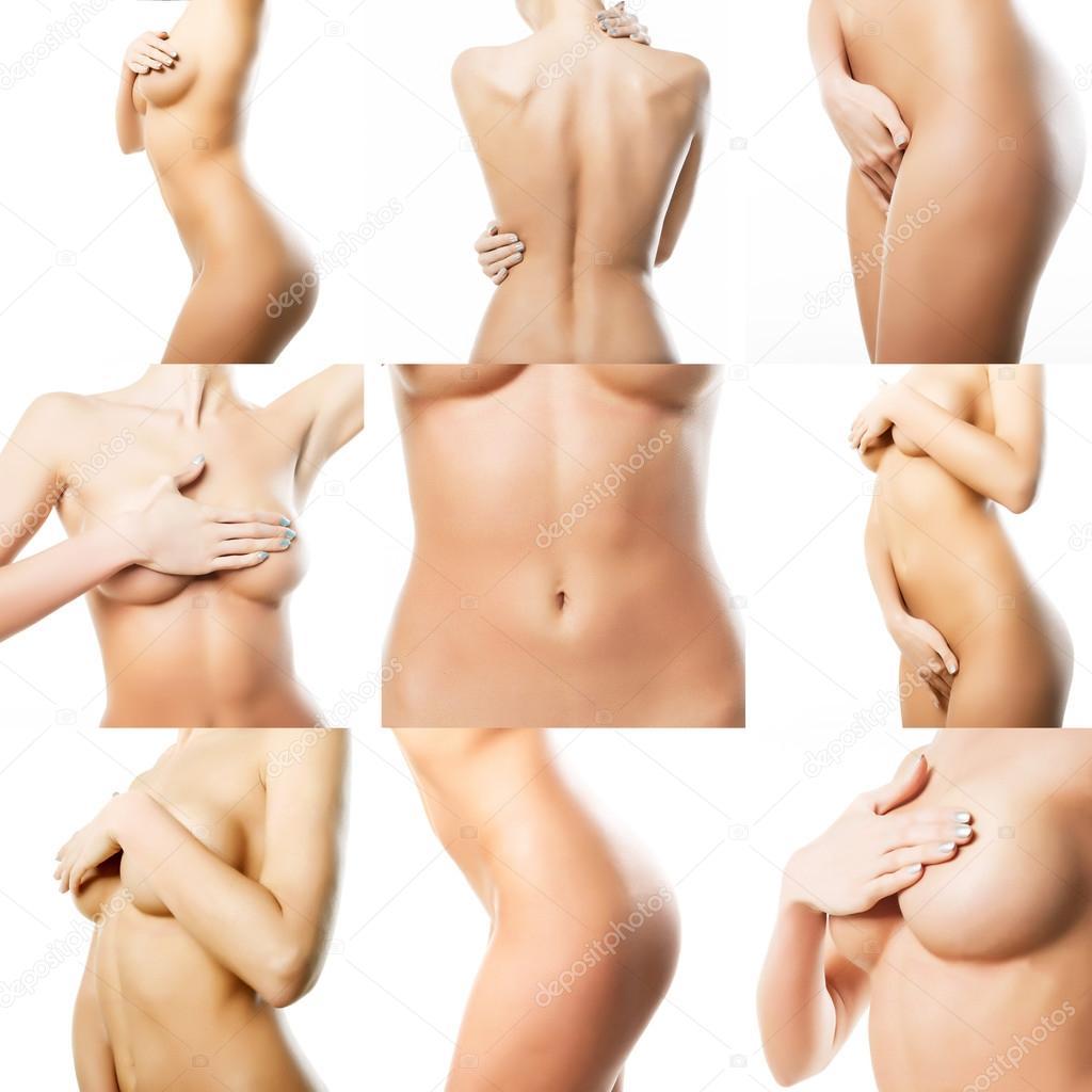 Hermoso cuerpo femenino. Collage de partes del cuerpo femenino. Perf ...