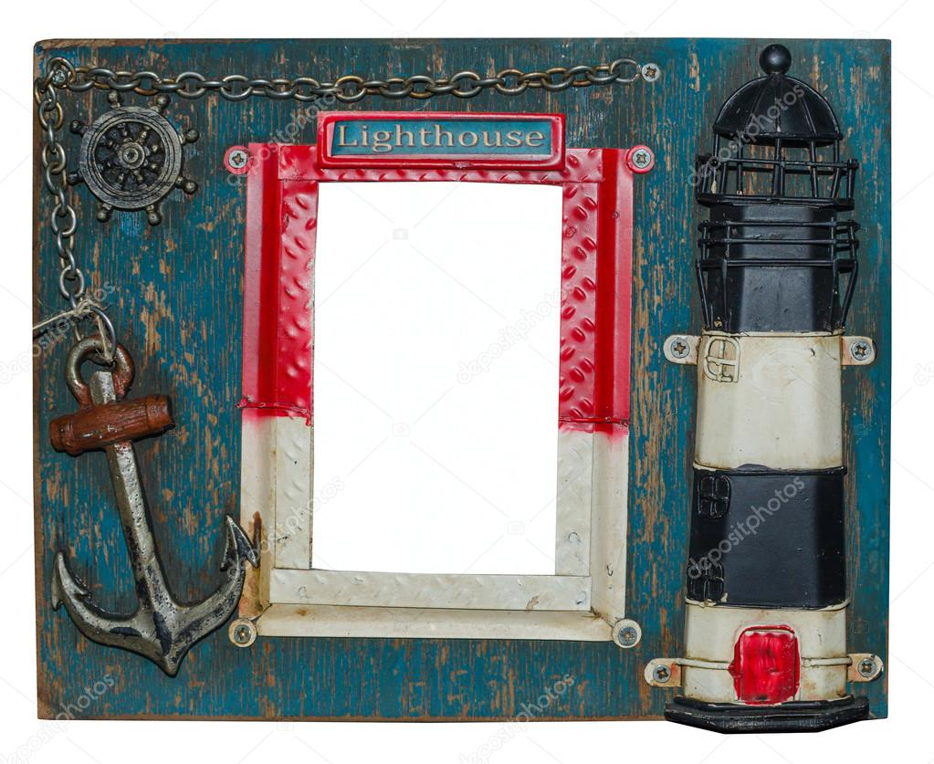 Unusual nautical photo frame. Lighthouse, anchor, chain, steering wheel