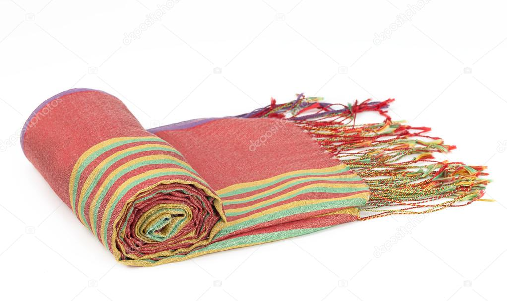 f500f330f Womens coral silk scarf with a colored striped pattern on isolated white  background — Photo by ...