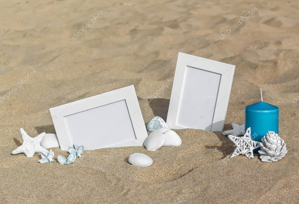 Blank Photo Frames On The Sand Beach With Shells, Starfish And Candle.  Summer Vacation Concept U2014 Photo By Zozulya86