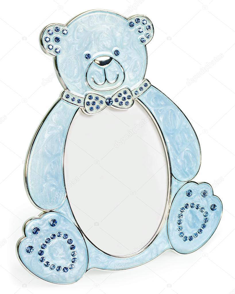 Marco de fotos azul con incrustaciones de diamantes en forma de oso ...