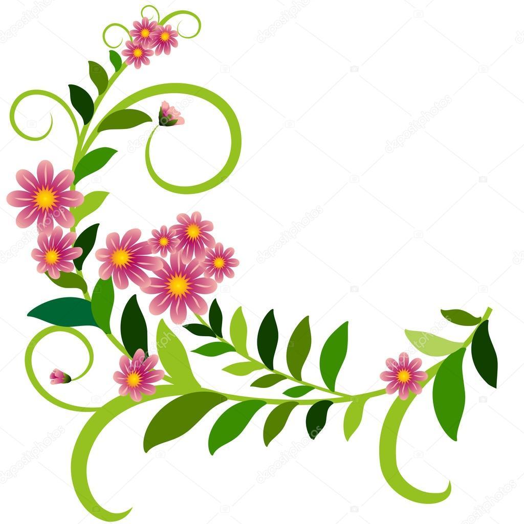 Adorno de hojas flores rizos Archivo Imgenes Vectoriales