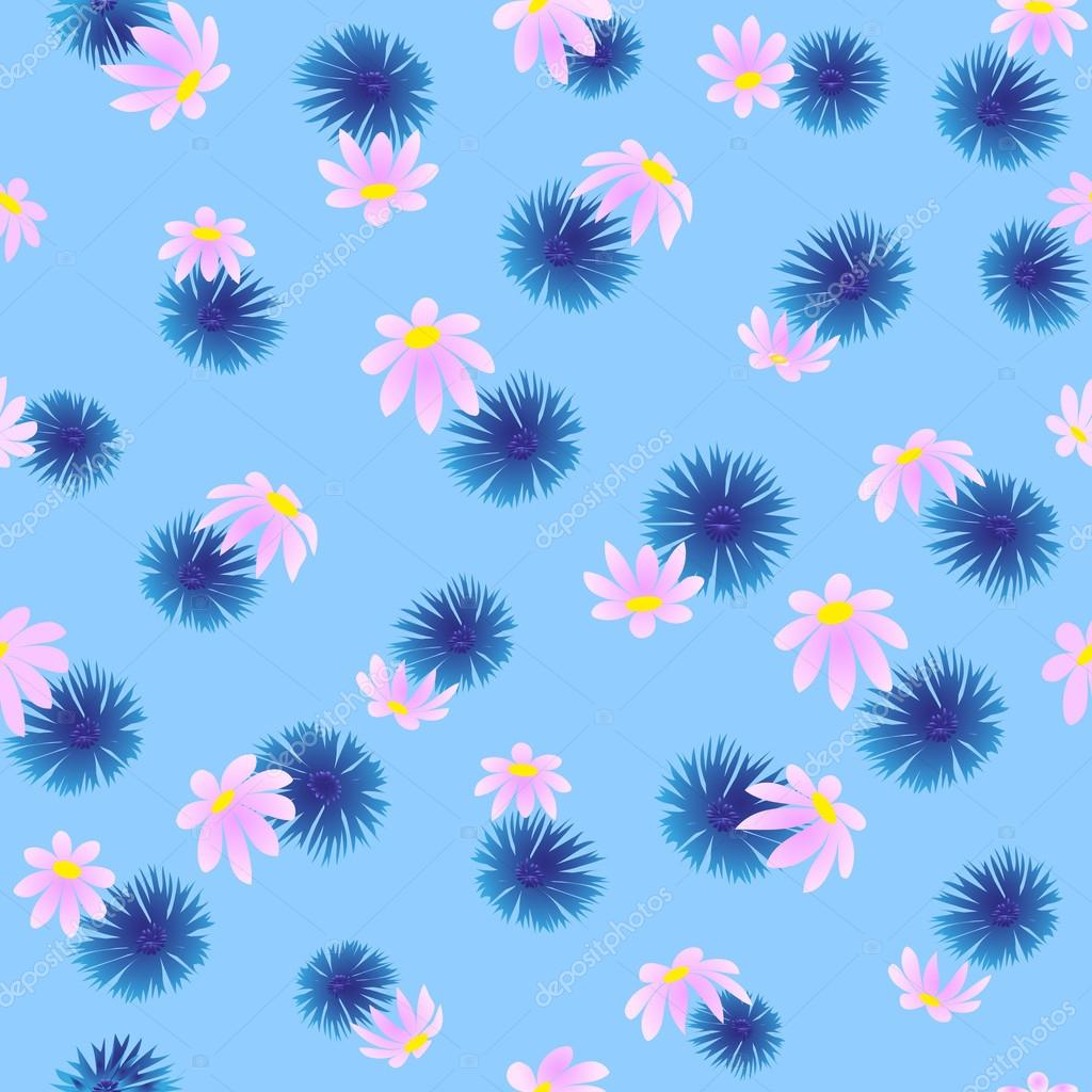 Pattern of cornflowers and daisies